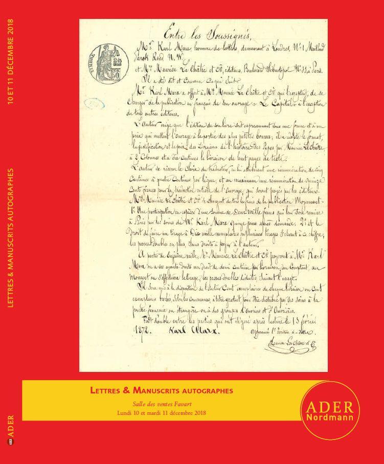 Vente Lettres & Manuscrits Autographes chez Ader : 402 lots