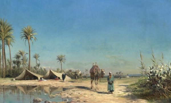 Peder Mønsted: View from North Africa with Bedouins and camels resting at an oasis. [...]