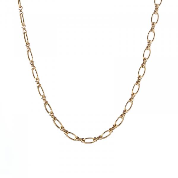 Gold necklace - Gold, 800 deer assay marking (after 1985), oval links. Signs of wear. [...]