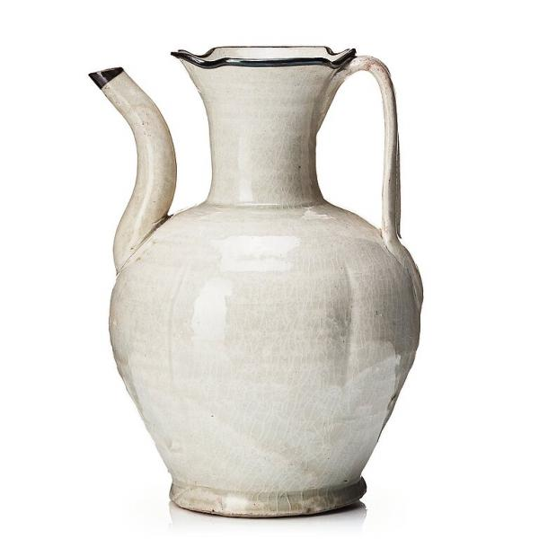 - A Qingbai glazed ewer, Northern Song dynasty. With handle and spout, silver clad [...]