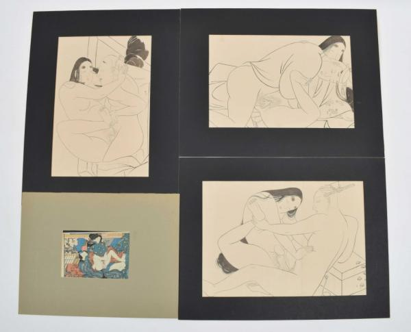 [Asian arts & photography] [Japan. Shunga] Set of 3 drawings in black ink of a [...]