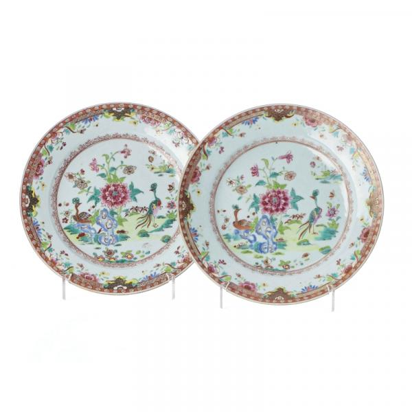 Pair of Chinese Porcelain Peacock plates, Qianlong - Export China porcelain, 18th [...]