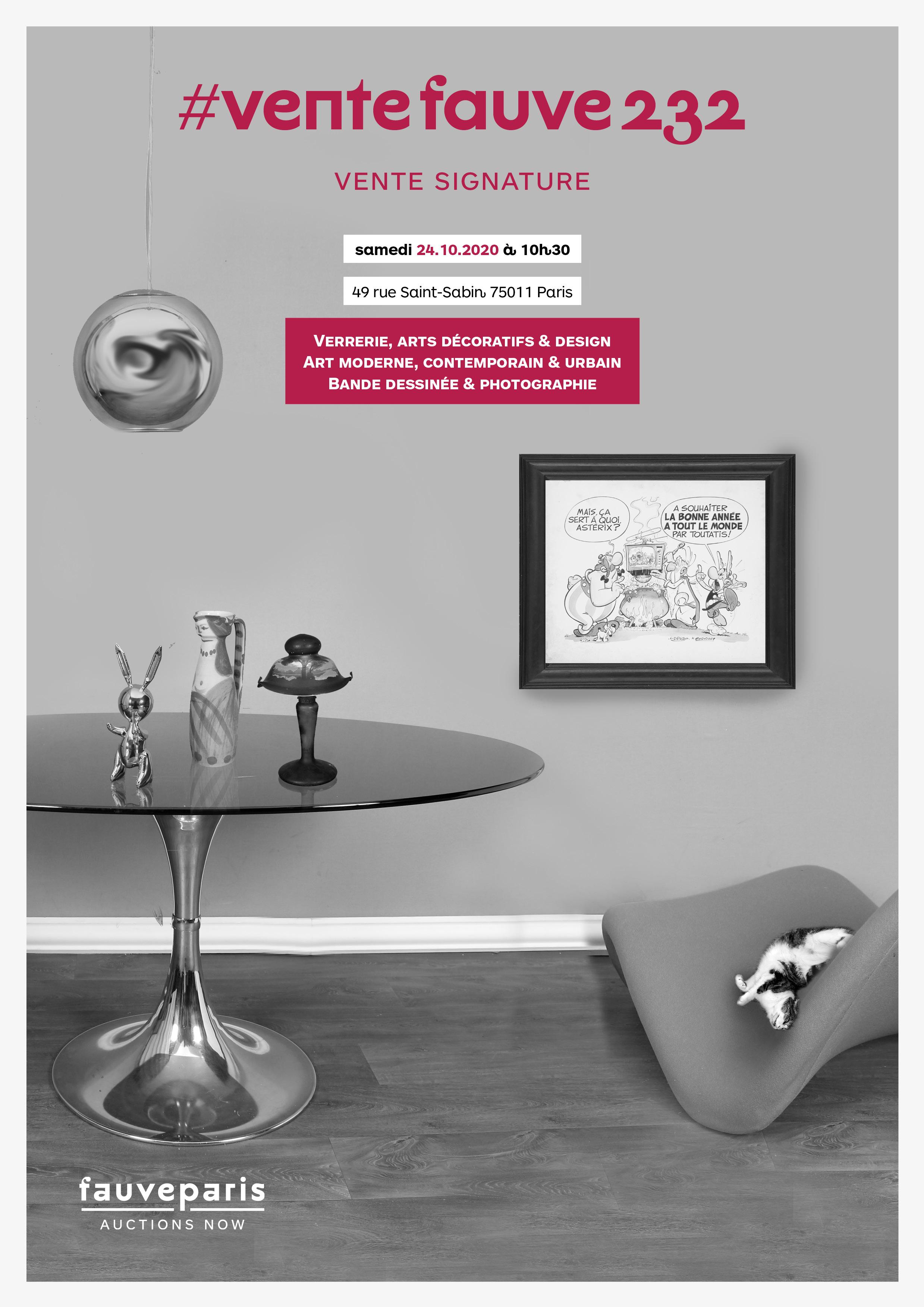 Vente #Ventefauve232 : Verrerie, Arts Décoratifs & Design, Art moderne, contemporain & urbain, Bande Dessinée & Photographie chez FauveParis : 115 lots