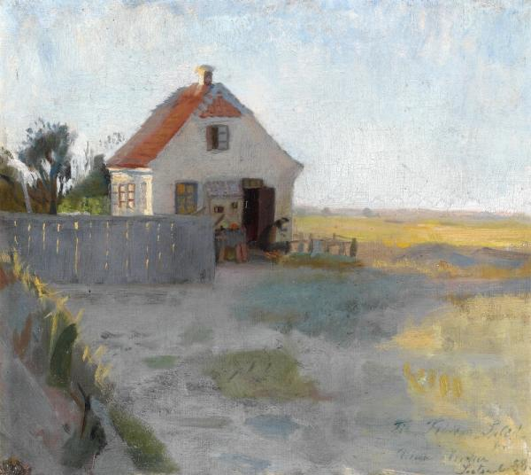 Anna Ancher: A Cottage on the moor near Skagen. Signed and dated Anna Ancher [...]