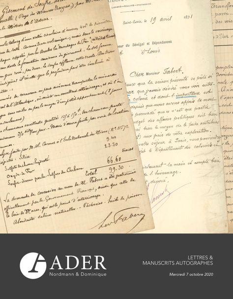 Vente Lettres & Manuscrits Autographes chez Ader : 326 lots