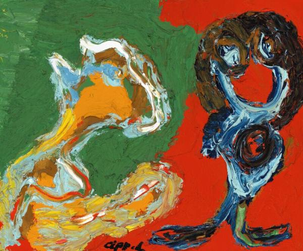 Karel Appel: Untitled. Signed Appel. Oil on canvas. 54 x 65 cm. -