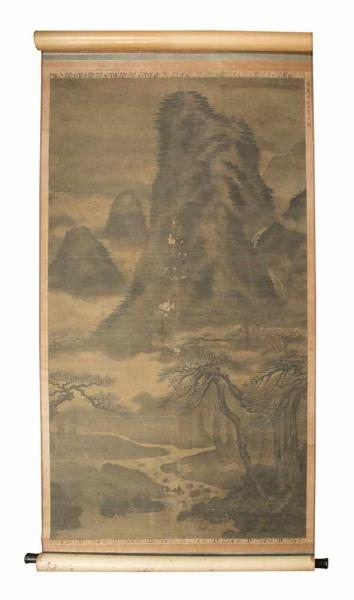 A Chinese hanging scroll from the Ming period (1368-1644) depicting a landscape in [...]
