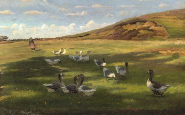 Hans Smidth: The geese are driven home. Goose girl and geese on the moor. Signed Hans [...]