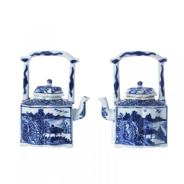 Pair of Chinese Porcelain Arched Handle Teapots, Kangxi - China, Kangxi period, of [...]