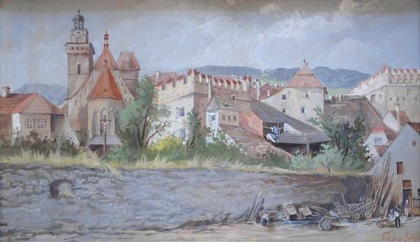 Václav Jansa (1859 - 1913)  - View of town  - pencil, aquarelle, paper, 24 x 40 cm,[...]