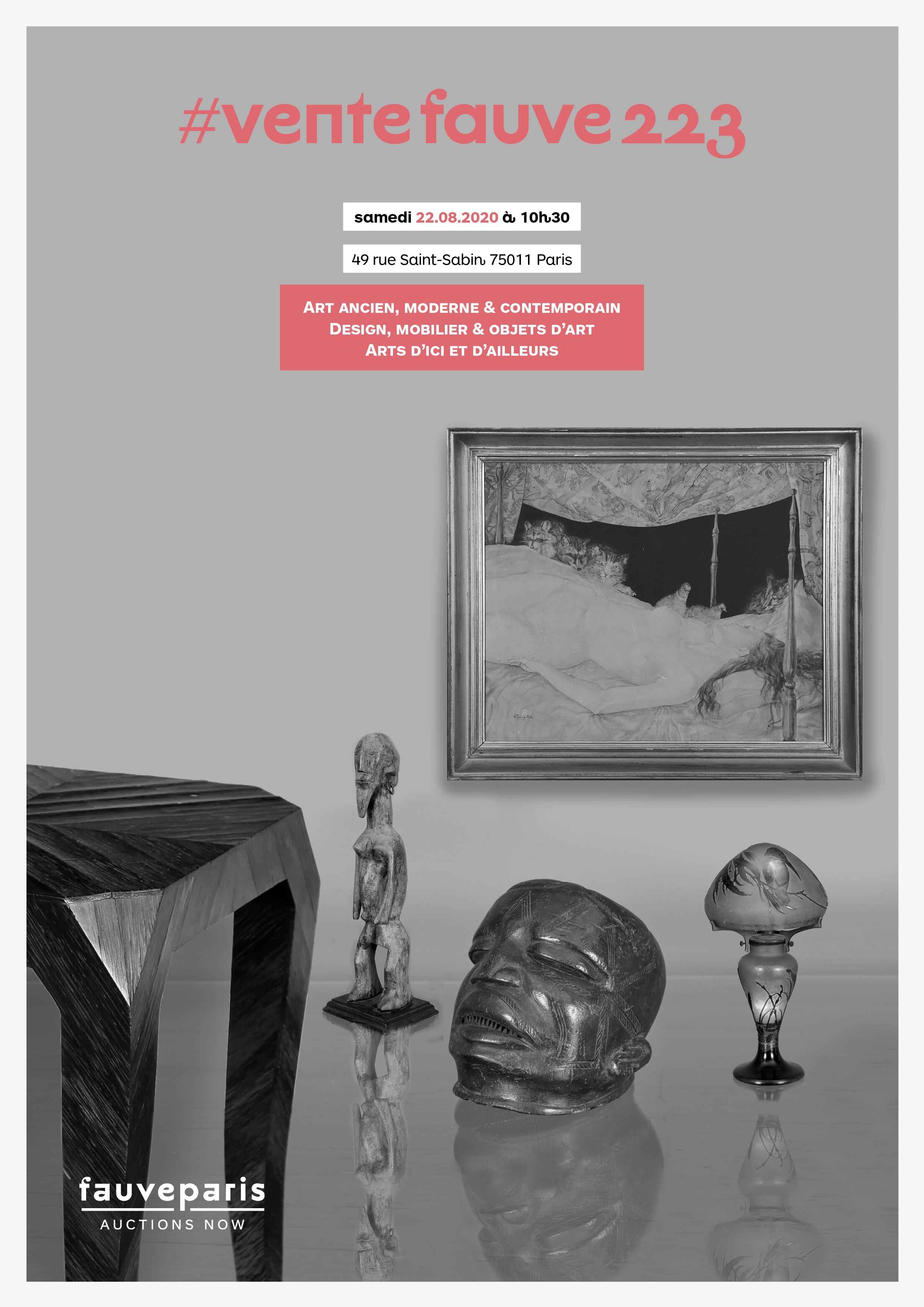 Vente # Vente Fauve 223 : C'est la Rentrée ! : Art Ancien, Moderne & Contemporain, Design, Mobilier & Objets d'Art... chez FauveParis : 118 lots