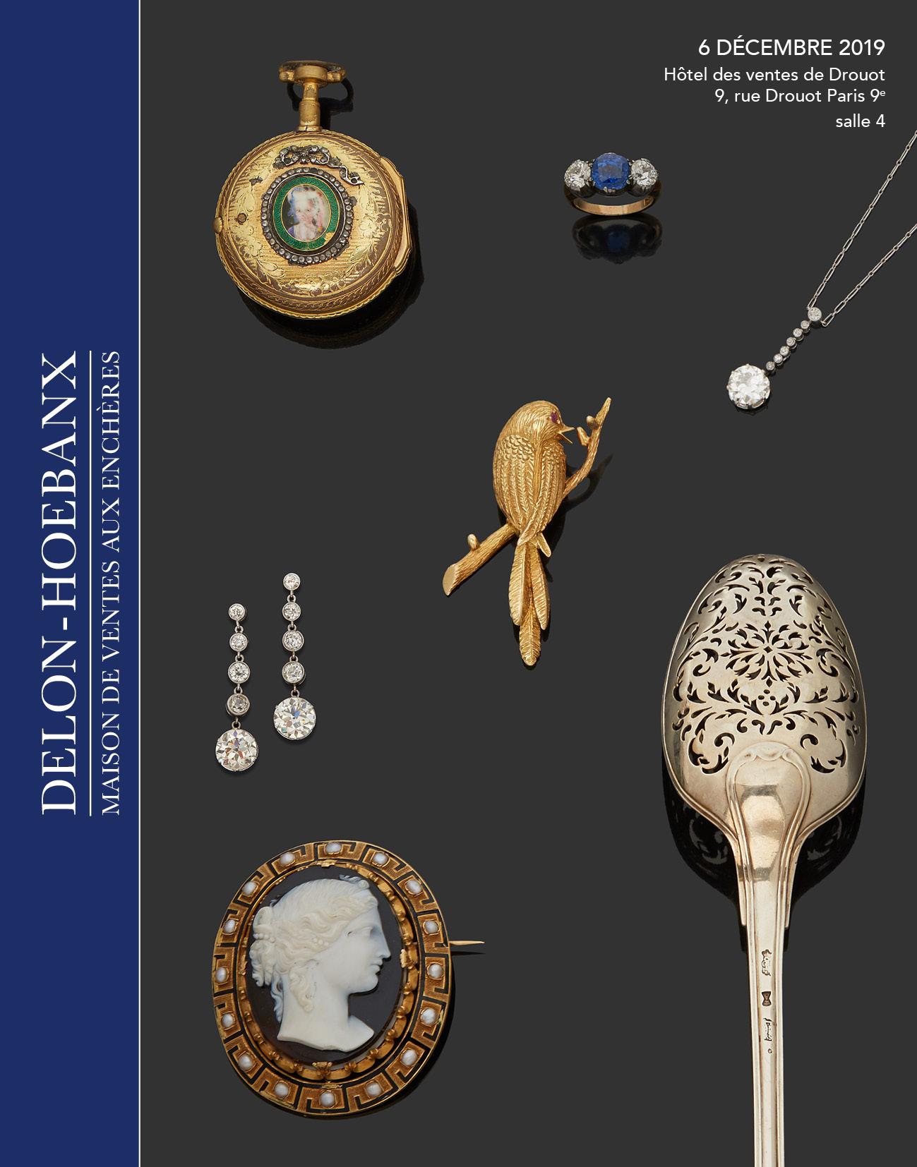 Vente Bijoux, Horlogerie, Orfèvrerie, Objets de Vitrine chez Delon-Hoebanx : 411 lots