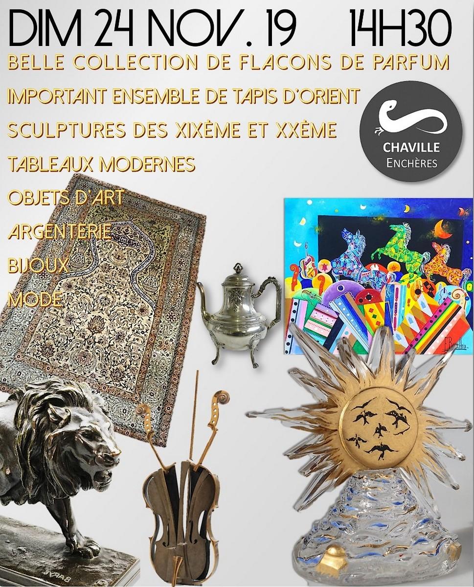 Vente Belle Collection de Flacons de Parfum Sculptures des XIXème et XXème... chez Chaville Enchères : 301 lots