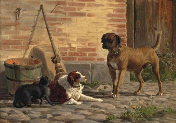 Carl Bøgh: Two dogs and a cat in the yard. Signed and dated Carl Bøgh 1856. Oil on [...]