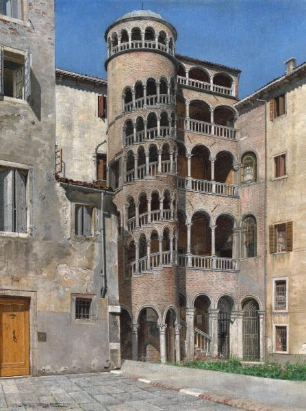 I. T. Hansen: Scala Contarini del Bovolo. Signed and dated J. T. Hansen 1891. [...]