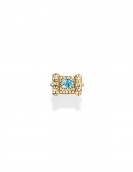 BAGUE EN OR,ZIRCON ET DIAMANTS