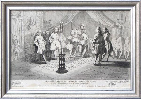 Trois gravures encadrées. Représentant des scènes maçonniques, gravures dites[...]