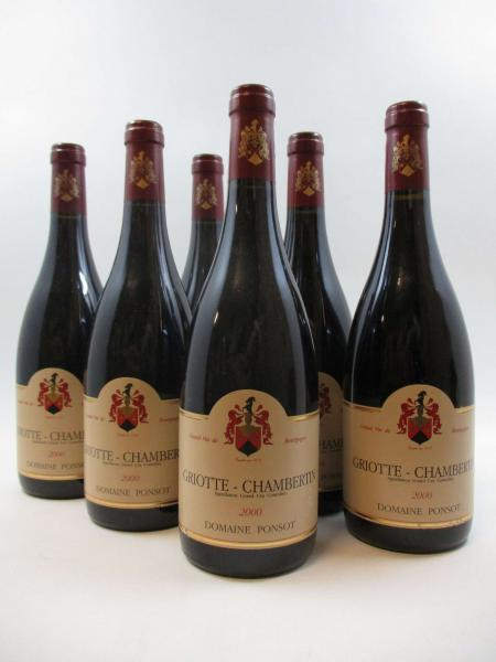 6 bouteilles GRIOTTE CHAMBERTIN 2000 Grand Cru. Domaine Ponsot (étiquettes léger [...]