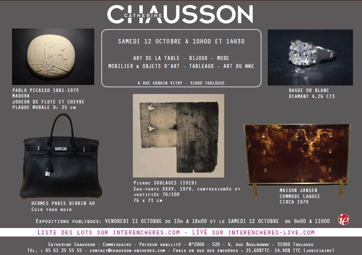 Vente Art de la Table, Bijoux, Mode, Mobilier & Objets d'Art, Tableaux, Art du WWE chez Catherine Chausson : 477 lots