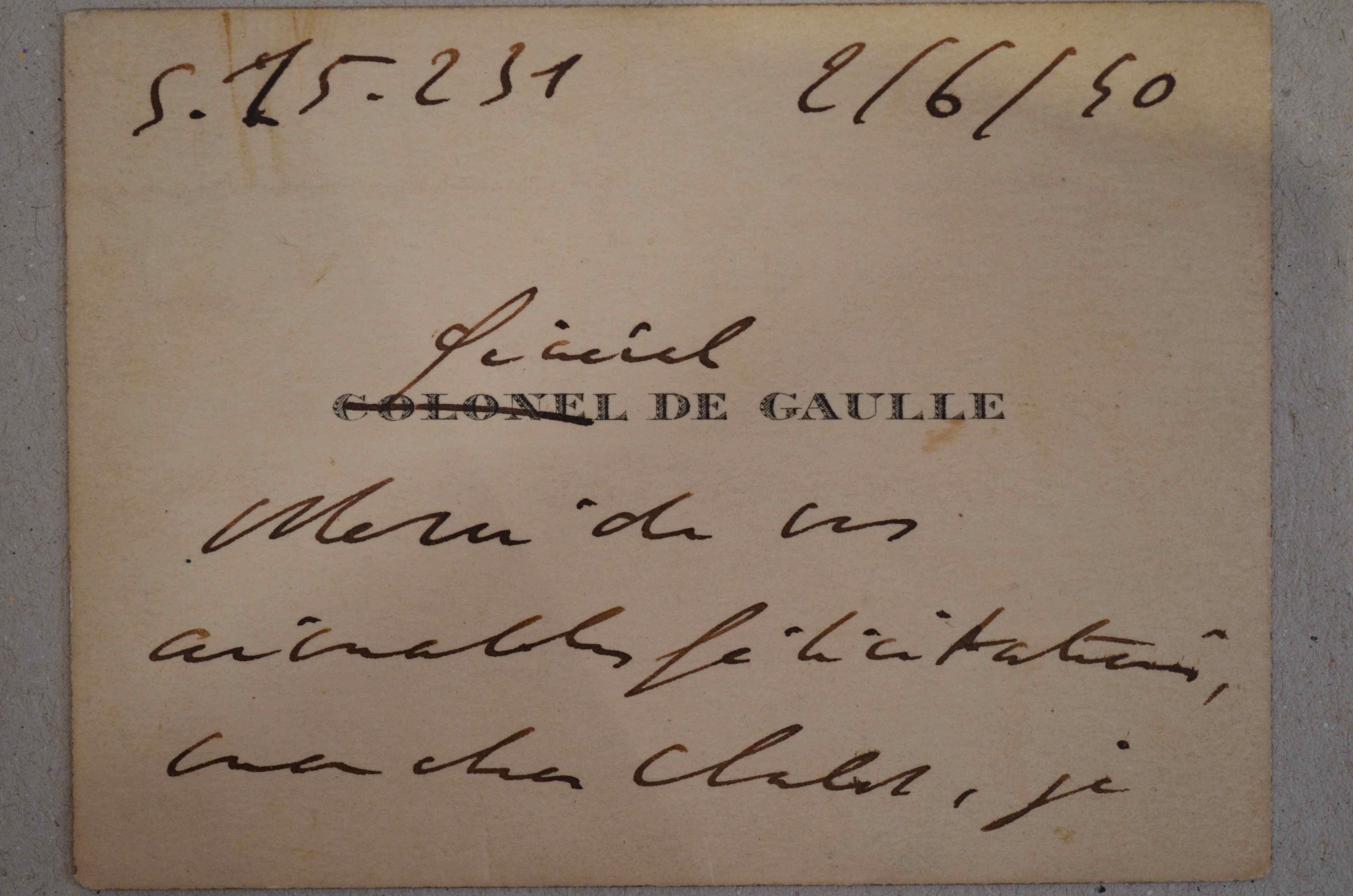 Charles De Gaulle Carte Visite Autographe Signe Ses Initiales