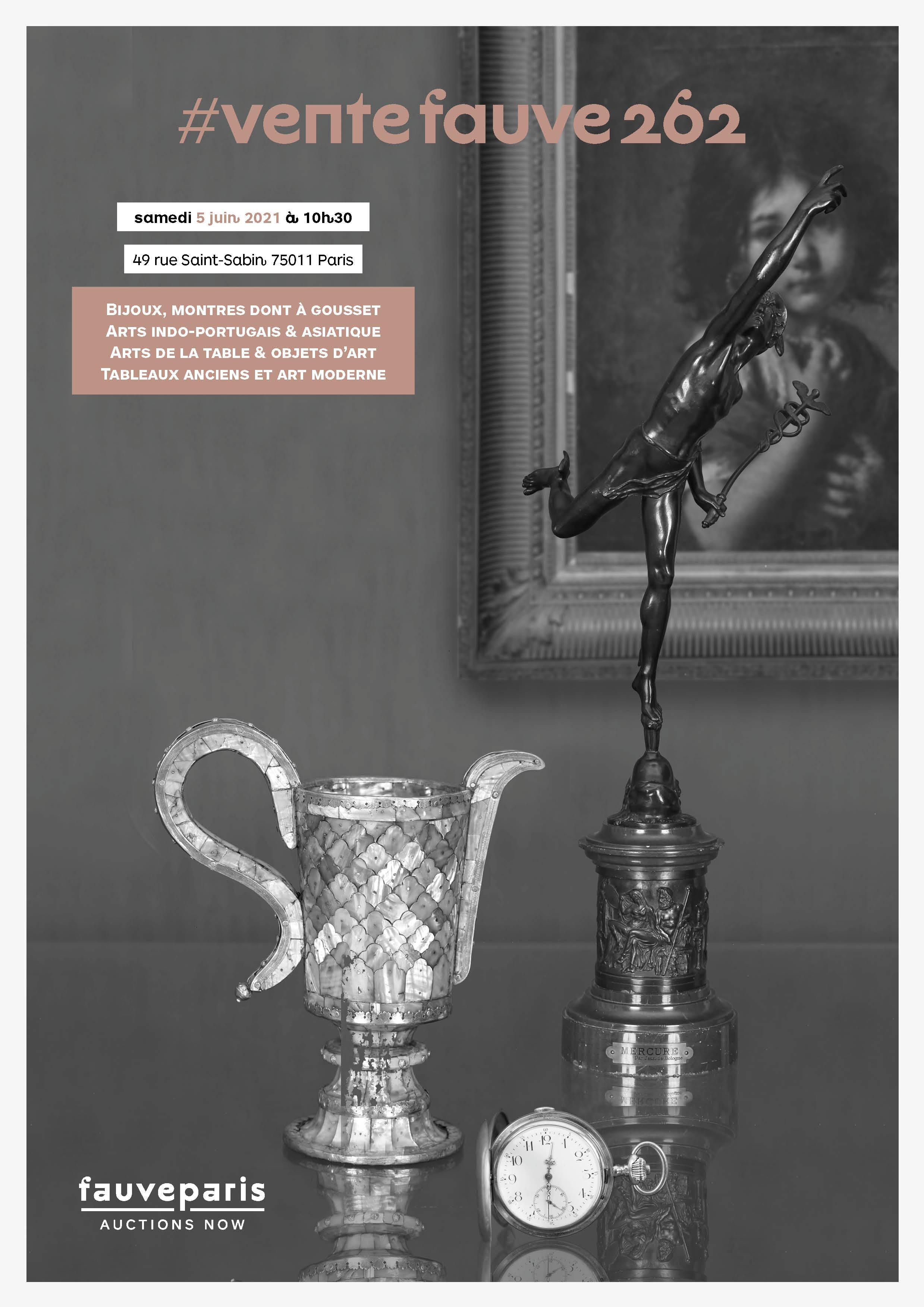 Vente Bijoux, Montres, Arts Indo-Portugais & Asiatique, Arts de la Table & Objets d'Art, Tableaux Anciens et Modernes chez FauveParis : 67 lots
