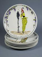 villeroy boch six assiettes en vitro porcelaine d cor de gravures de mode mode. Black Bedroom Furniture Sets. Home Design Ideas