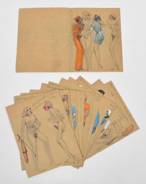[Erotics] [Argentina] Manuscript with erotic drawings - Manuscript of 27 loosely [...]