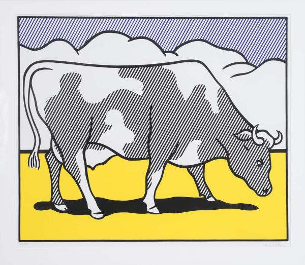 Roy Lichtenstein (1923-1997) - Cow Going Abstract [Triptyque] 1982 Sérigraphie sur [...]