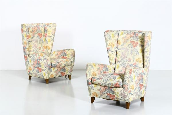 PAOLO BUFFA  - (Attributed to.) Pair of armchairs, 50s. (2)  - Wood and padded [...]
