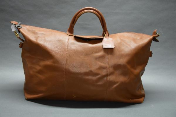 LONGCHAMP Sac de voyage en cuir grainé et cuir beige, fermeture ...