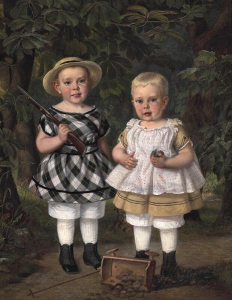 Just Holm: Two children playing soldiers. Signed and dated J. Holm 1872. Oil on [...]