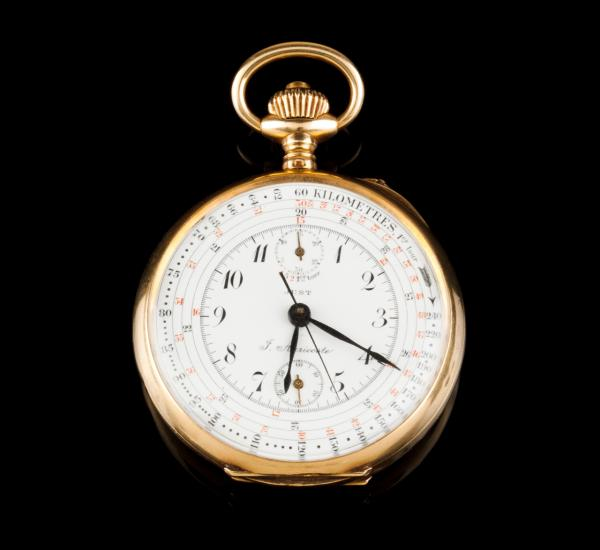 J. AURICOSTE, pocket watch  - JUST chronograph Gold case with relief monogram at the [...]