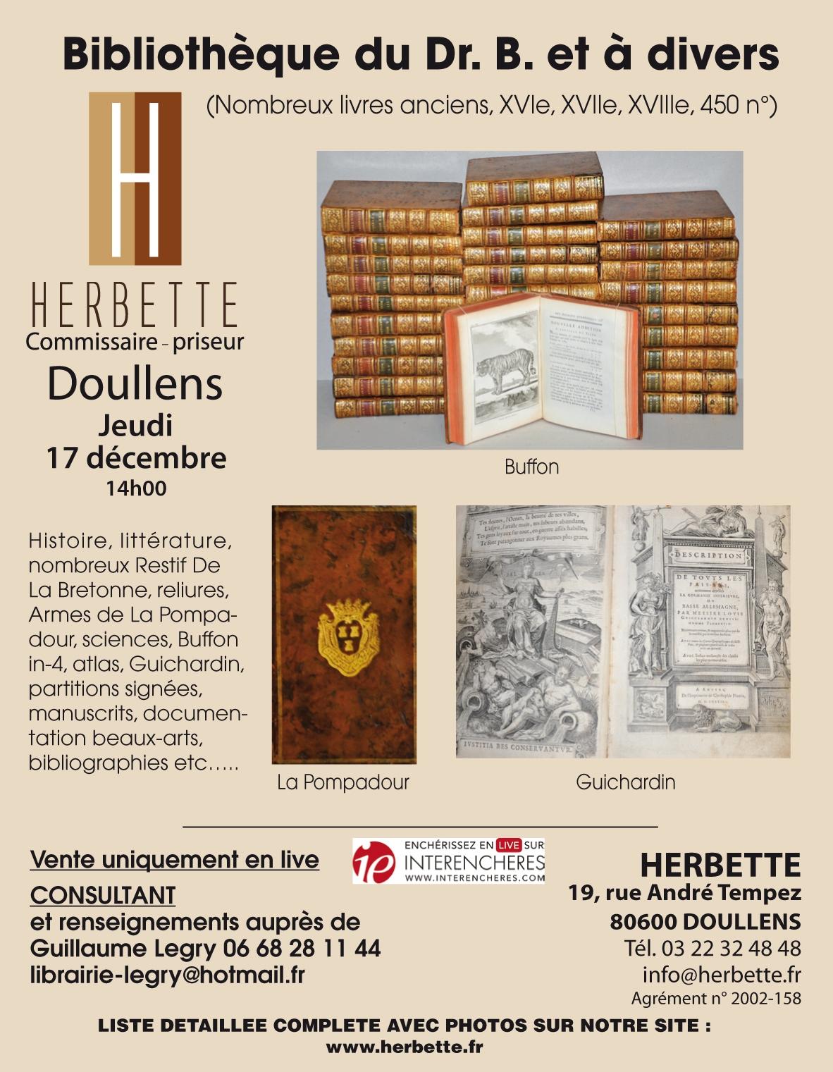 Vente Bibliothèque du docteur B. et à Divers chez SARL SVV Denis Herbette : 456 lots
