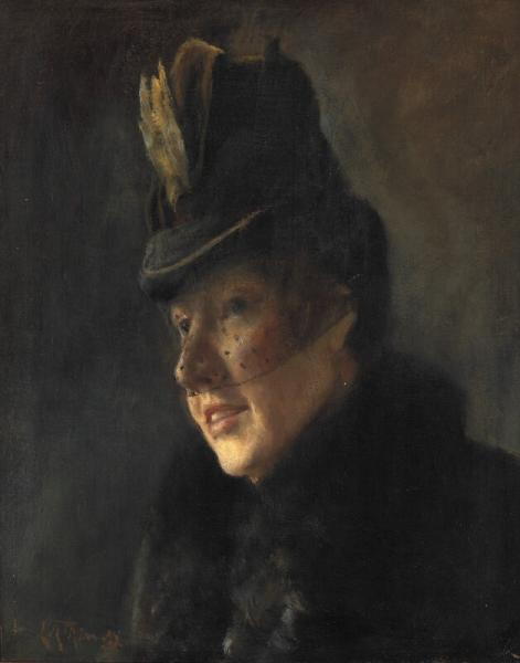 L. A. Ring: Portrait of a young woman in coat with fur collar and hat with veil. [...]