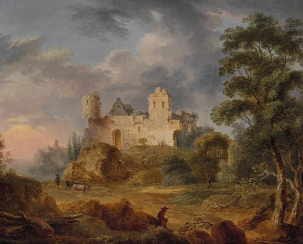 Christian Georg Schütz I, attributed to: A pair of landscapes with castle ruins. [...]