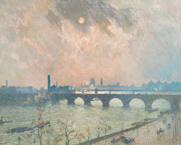 Claus Emile (1849 - 1924)  - Belgique  - La Tamise et Waterloo Bridge à Londres [...]