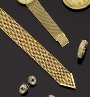 Beau bracelet ceinture en or jaune maille paillasson - L. 24 cm - H ... 2ecef2669e2