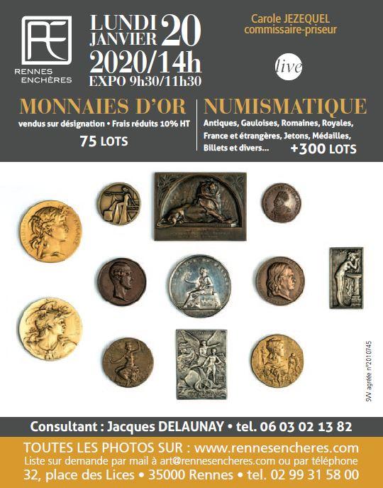 Vente Numismatique chez Rennes Enchères : 366 lots