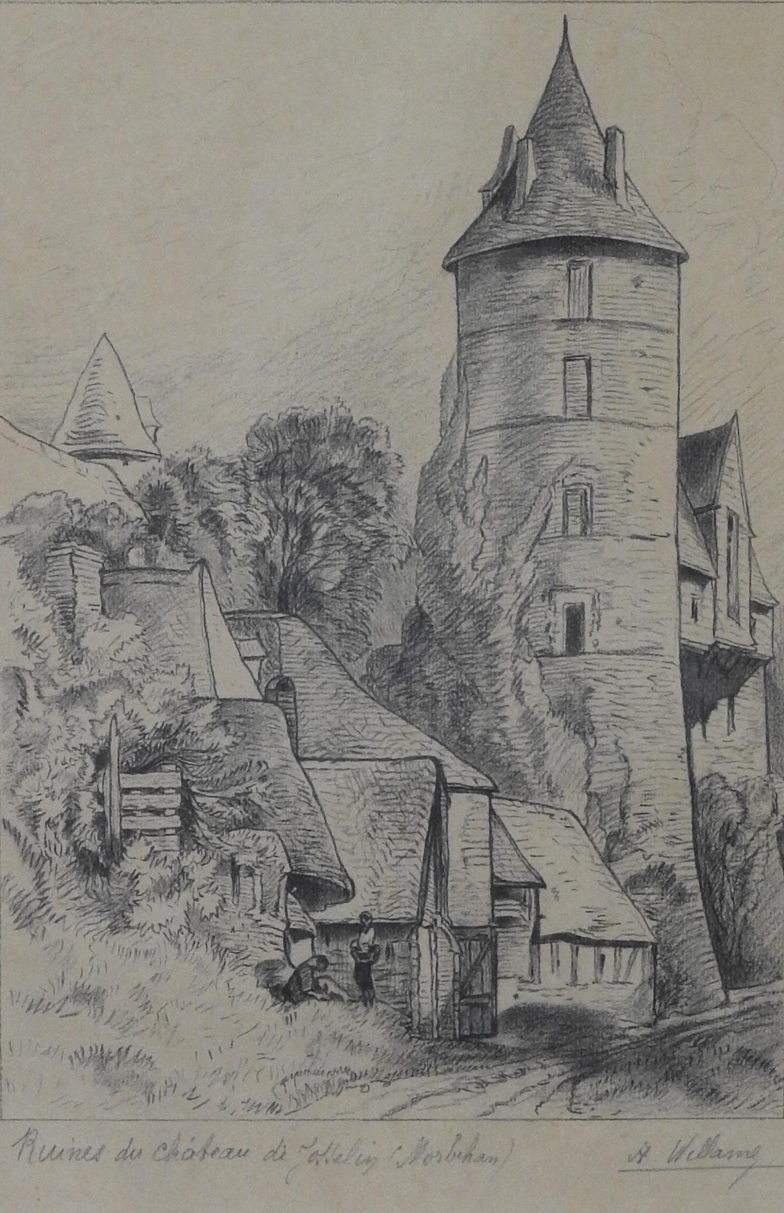 Maison En Ruine Dessin a. willame - ruine du château de josselin (morbihan