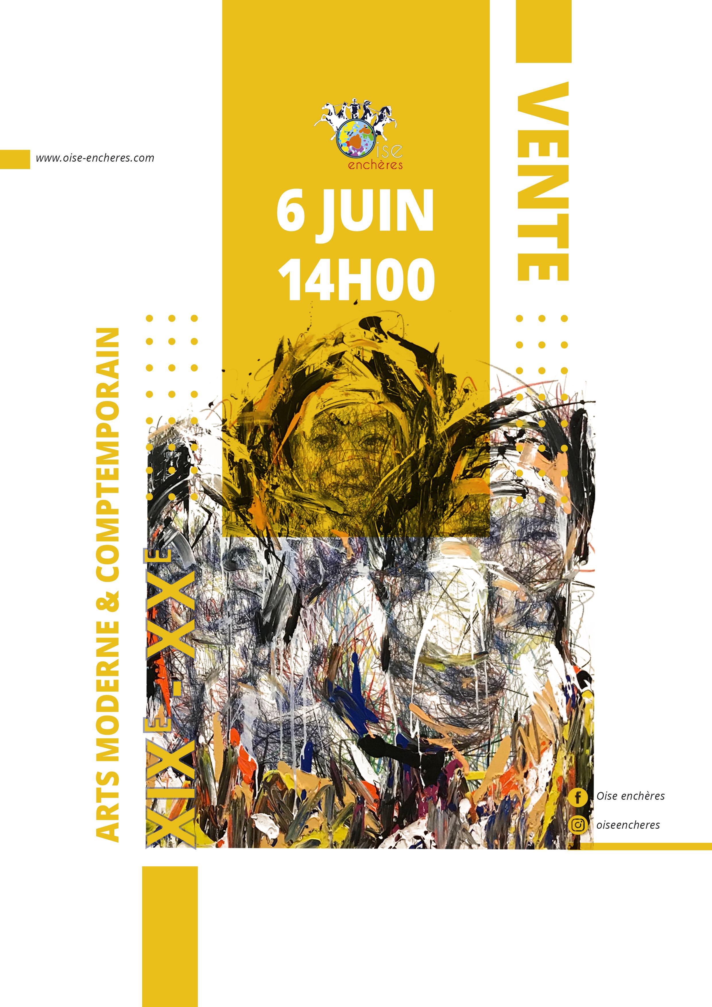 Vente Arts Moderne et Contemporain  Tableaux, Sculptures, Objets d'Art et Mobilier du XXe et Contemporain chez Oise Enchères : 328 lots