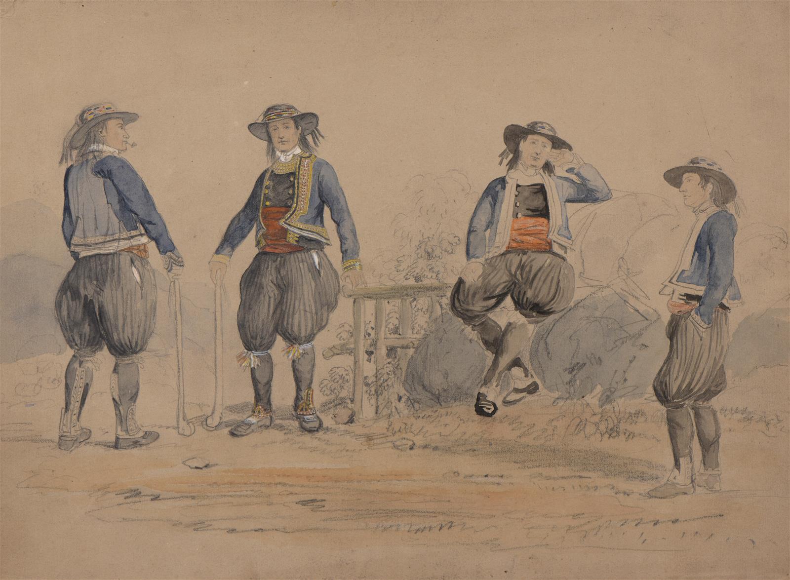 François Hippolyte LALAISSE (1812,1884) , Étude de costumes