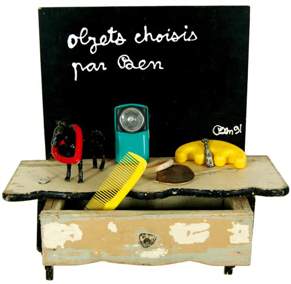 BENJAMIN VAUTIER  - Objects choisis par Ben  - 1991  - acrylics on wooden drawer with [...]