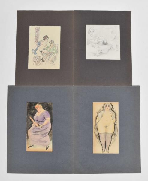 [Erotics] 4 erotic drawings - Circa 1930-50, from a large collection of (mostly) [...]