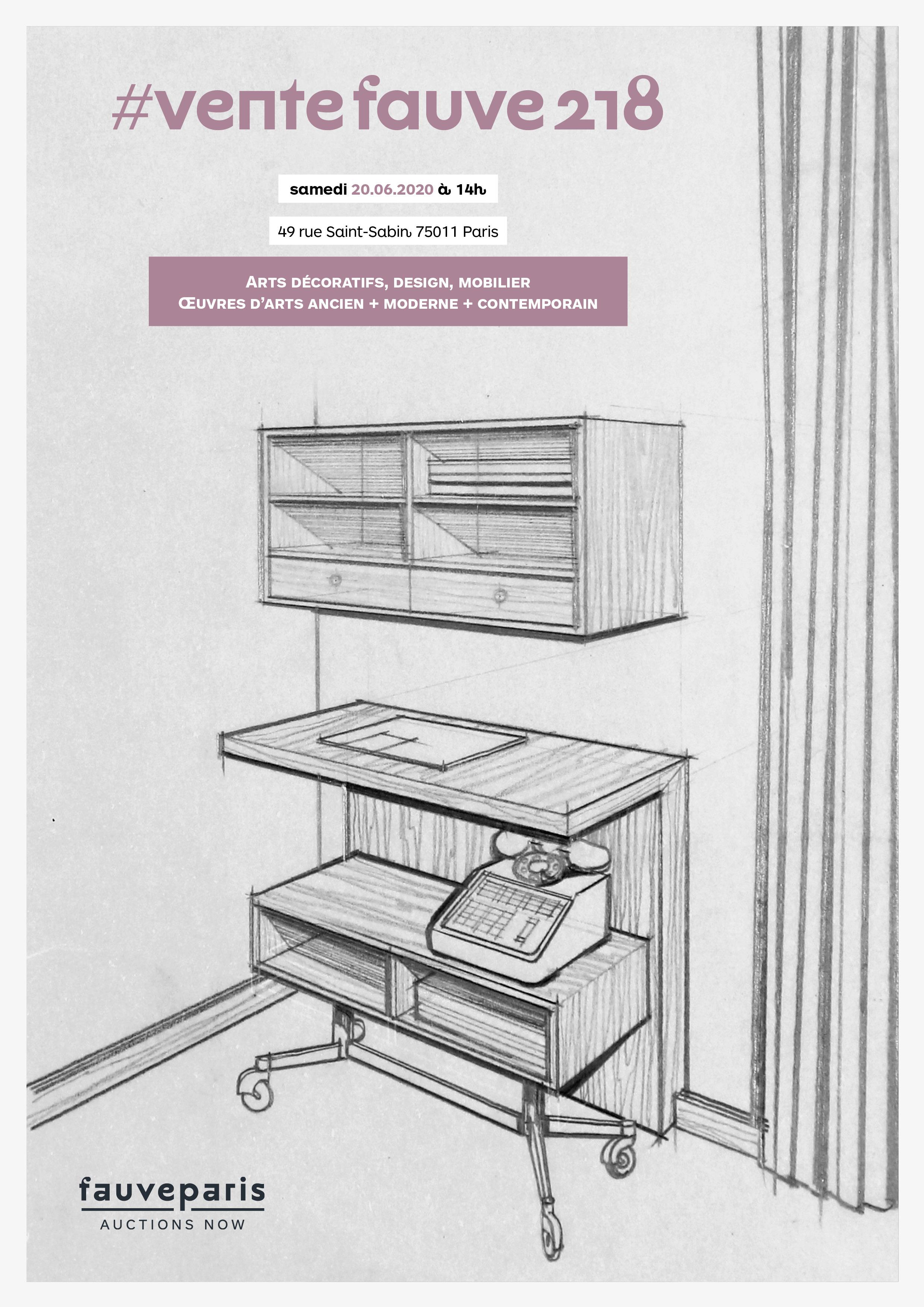 Vente #VenteFauve218 : Arts Décoratifs, Design, Mobilier, Œuvres d'Arts ancien, moderne, contemporain chez FauveParis : 88 lots