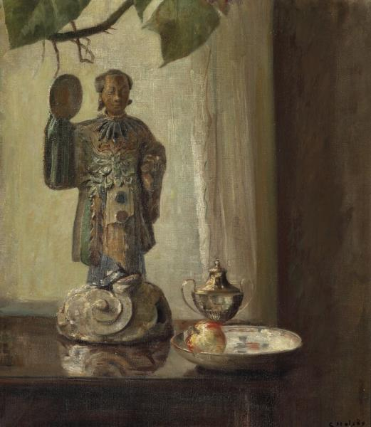 Carl Holsøe: Still life with a Chinese figurine and a Imari platter. Signed C. [...]