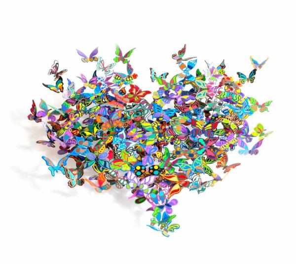David Kracov (1968 Boston) Wandskulptur aus Schmetterlingen, My Heart Is All a Flutter #3,