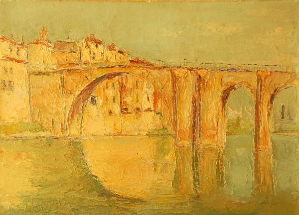 Neznámý autor  - View on the city in Italy - oil, canvas, 1945, 64,5 x 92 cm, frame -
