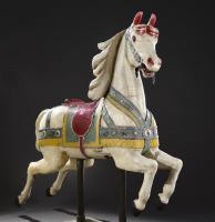 f58b26339f5 Cheval de manège en bois sculpté et relaqué polychrome dans les tons ...