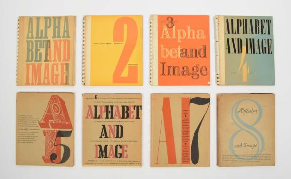 [Fine arts: 20th century] [Typography] Alphabet and Image 1-8 - Shenval Press, [...]