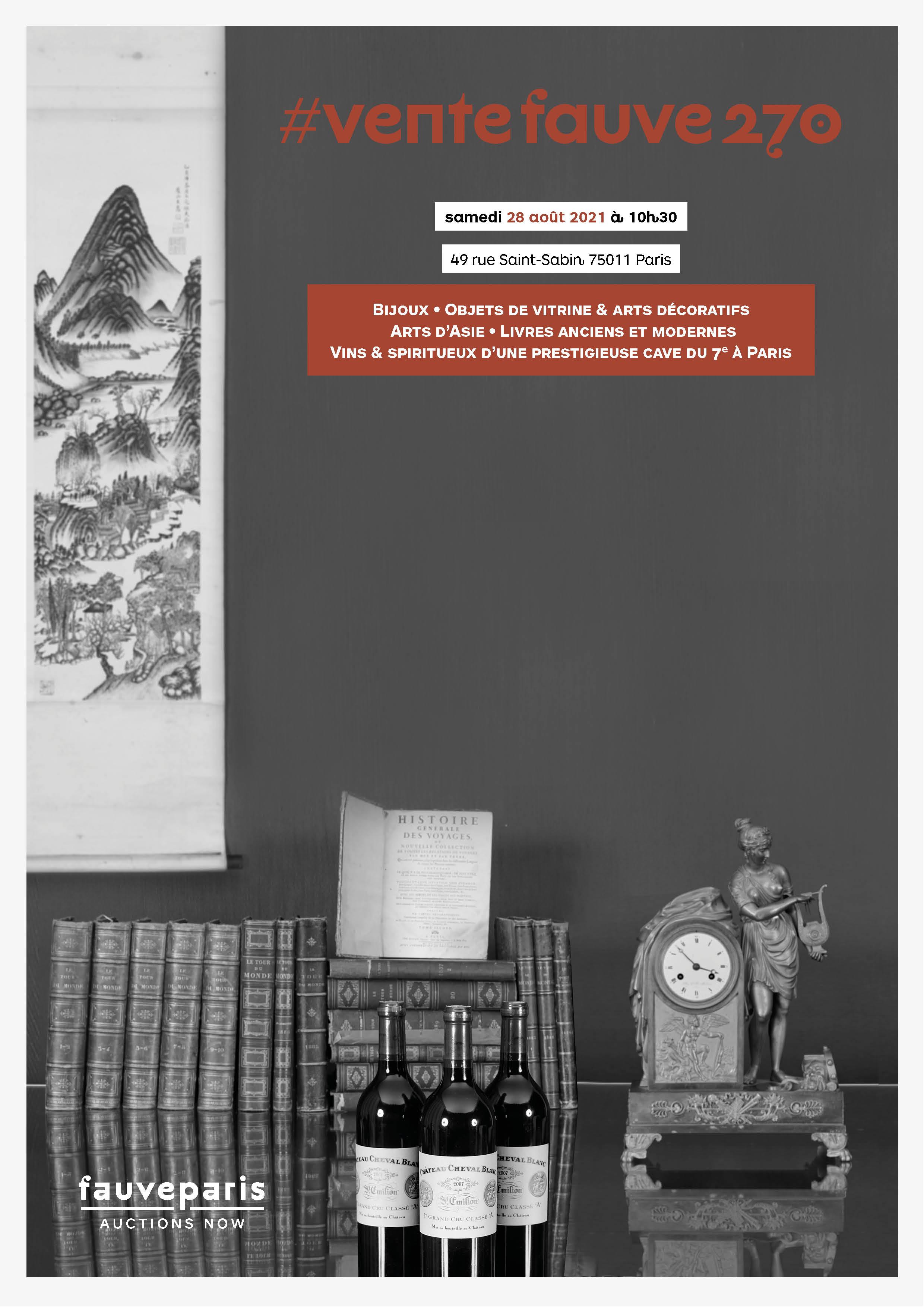 Vente Bijoux • Objets de vitrine & Arts Décoratifs • Arts d'Asie • Livres anciens et modernes • Vins & spiritueux chez FauveParis : 117 lots